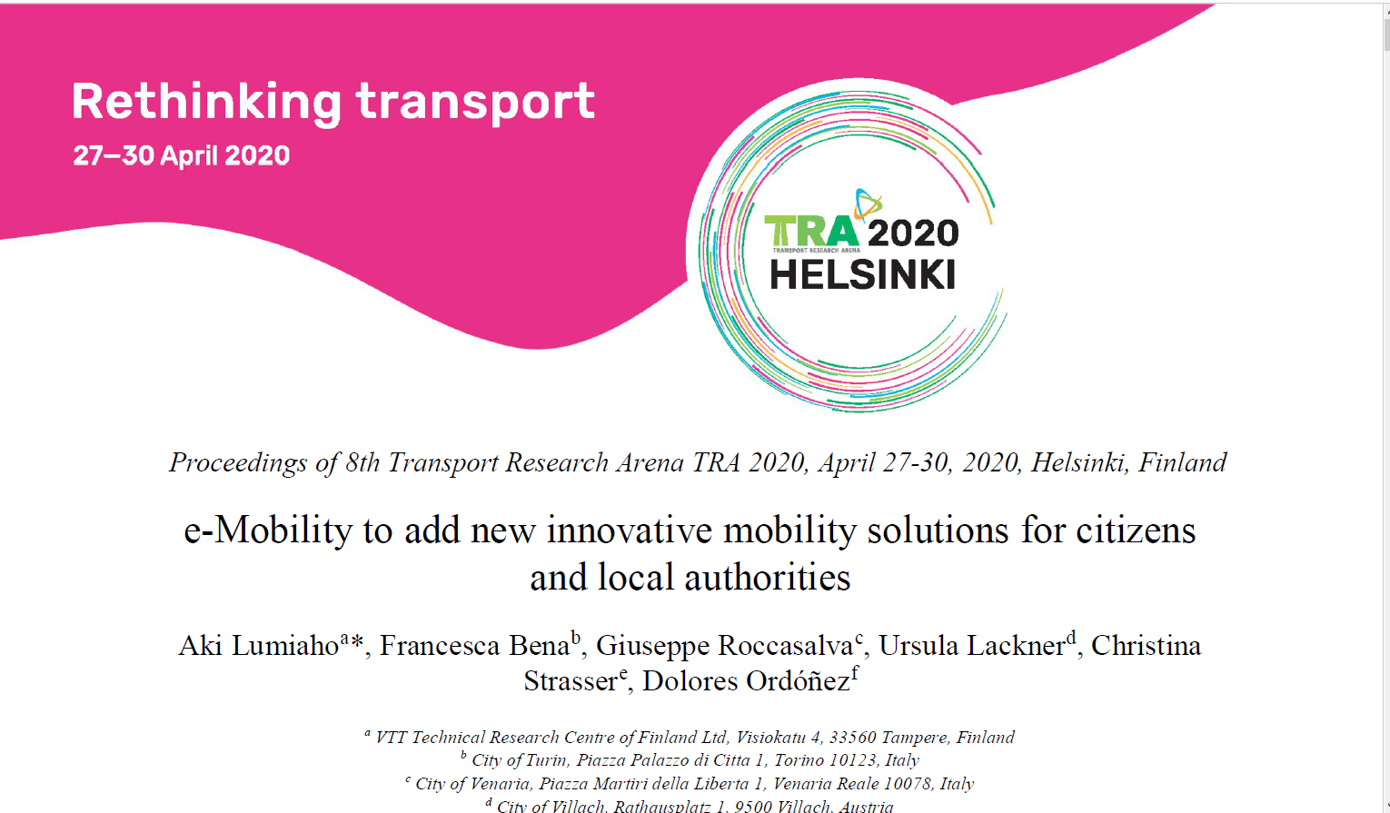 e-Mobility to add new innovative mobility solutions for citizens and local authorities
