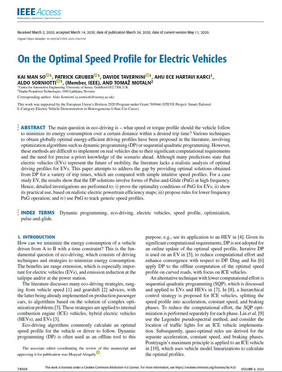 On the Optimal Speed Profile for Electric Vehicles