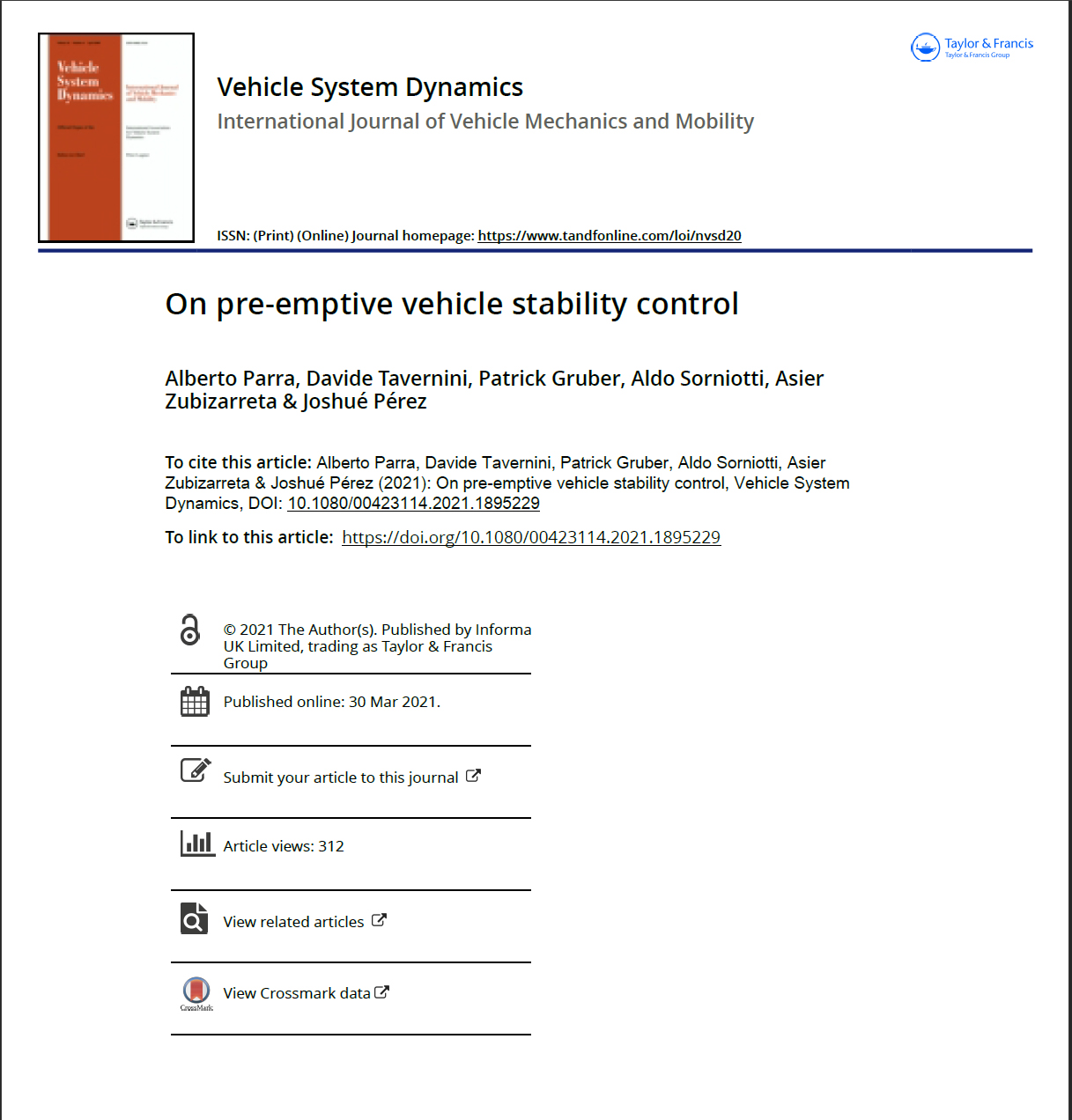 On pre emptive vehicle stability control